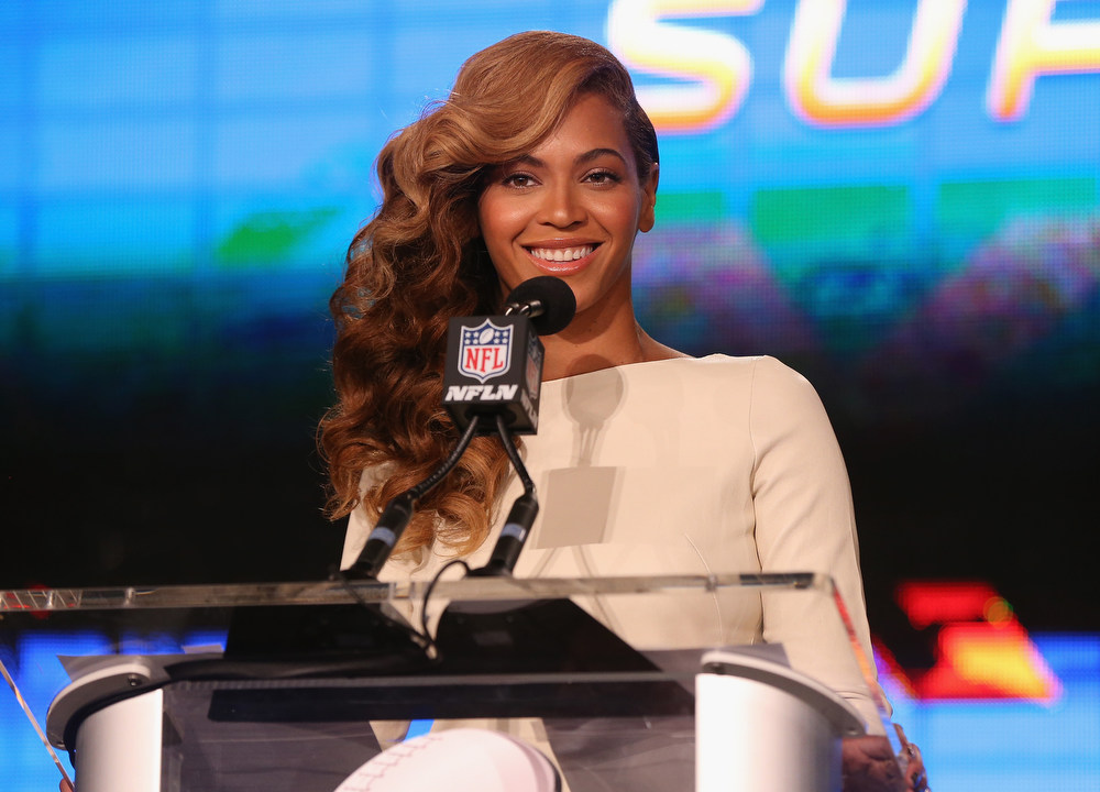 . Beyonce speaks at the Pepsi Super Bowl XLVII Halftime Show Press Conference at the Ernest N. Morial Convention Center on January 31, 2013 in New Orleans, Louisiana.  (Photo by Christopher Polk/Getty Images)