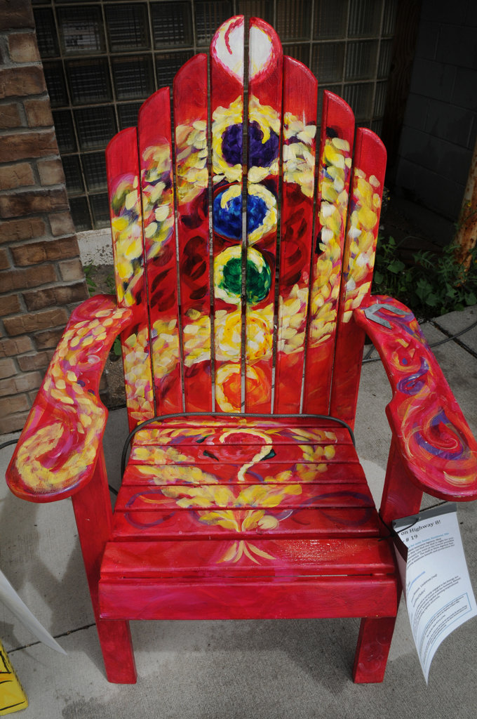 """. \""""Kundalini /Chakra\"""" by Jessica Bennett is part of the Highway 8 Chairs project in Chisago County. (Pioneer Press: Jean Pieri)"""
