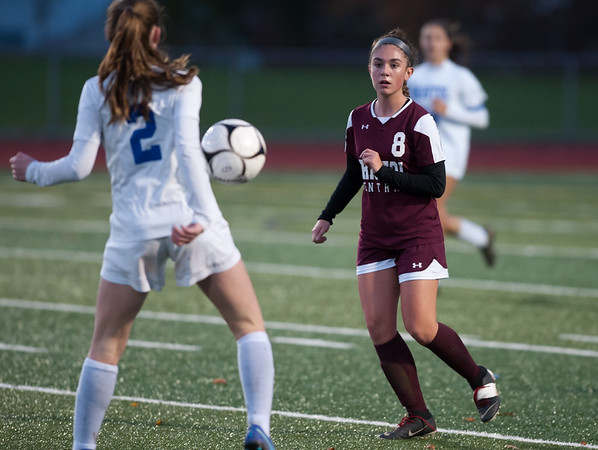 10/29/18 Wesley Bunnell | Staff Bristol Central girls soccer hosting Bristol Eastern on Monday evening. Jenna Lowe (8).