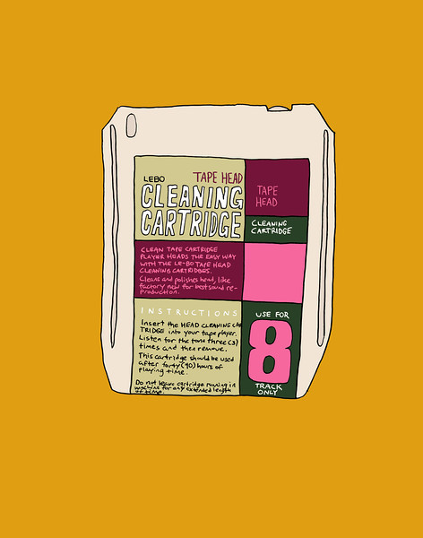 '8 Track Tape Head Cleaning Cartridge' ink drawing + digital coloring Daniel Driensky © 2014