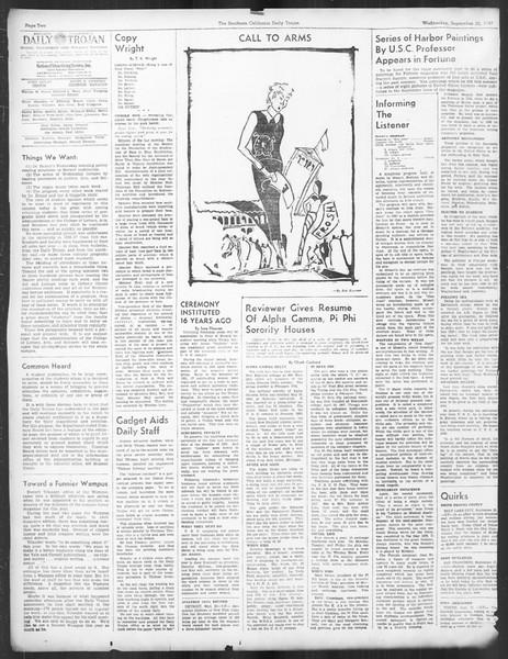 Daily Trojan, Vol. 29, No. 4, September 22, 1937