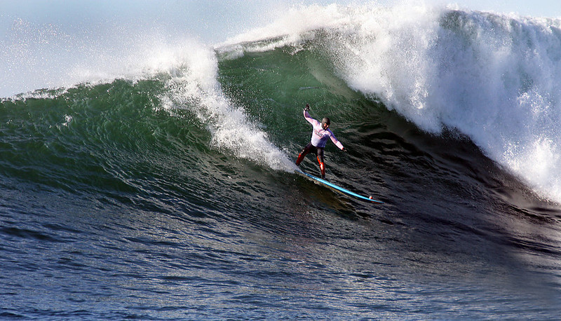 . Peter Mel of Santa Cruz, veteran of each of the Mavericks big wave contests since 1999, charged his way to the victory stand Sunday, in a final heat that included two other Santa Cruz locals--Zach Wormhoudt and Shawn Dollar.  (Dan Coyro/Sentinel)