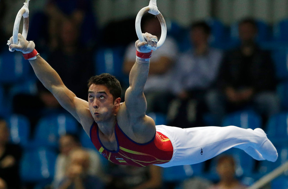 . Spain\'s Ruben Lopez competes on the rings during the men\'s all-around final at the European Men\'s and Women\'s Artistic Gymnastic individual Championships in Moscow April 19, 2013.  REUTERS/Grigory Dukor