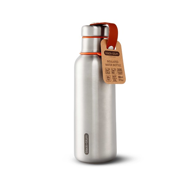 Insulated Water Bottle orange packaging Black Blum