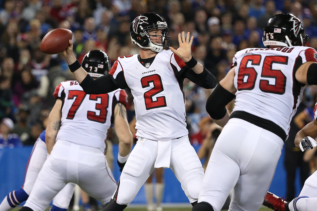 . Matt Ryan #2 of the Atlanta Falcons throws a pass during an NFL game against the Buffalo Bills at Rogers Centre on December 1, 2013 in Toronto, Ontario. (Photo by Tom Szczerbowski/Getty Images)