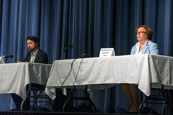 10/22/19 Wesley Bunnell | StaffrrCandidates for mayor and City Council met on Tuesday night at St. Paul Catholic High School's Auditorium for a question and answer forum for council candidates followed by a mayoral debate. Republican candidate for mayor Dante Tagariello, L, and Democratic Mayor Ellen Zoppo-Sassu.