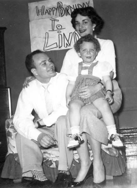 Linda with Lou and Marian on her 2-year Birthday in 1955