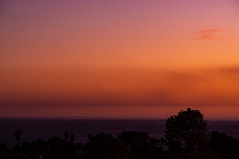 October 24 - Sunset with smoke reflections from the Tick fire-1.jpg
