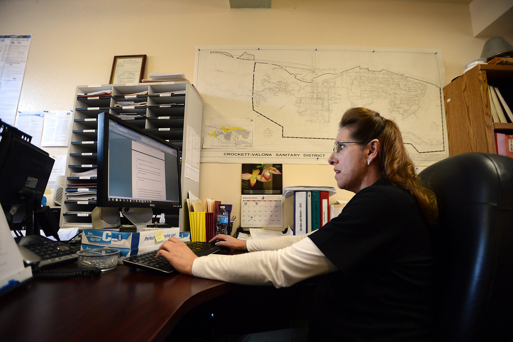 . Crockett Community Services District employee Susan Witschi works in the office in Crockett, Calif. on Tuesday, Jan. 15, 2013. (Kristopher Skinner/Staff)