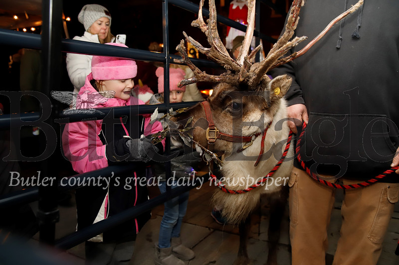 Abby Burr, 6, of Zelienople feeds a reindeer at the Miracle on Main Street Christmas celebration Thursday evening in Zelienople. Seb Foltz/Butler Eagle