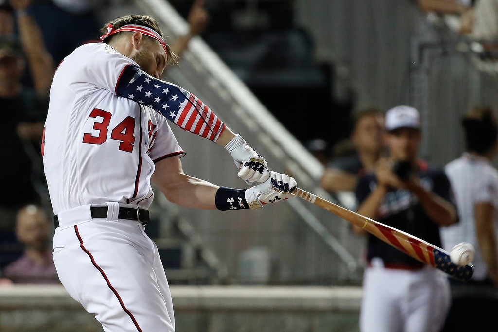 . Washington Nationals Bryce Harper hits during the MLB Home Run Derby, at Nationals Park, Monday, July 16, 2018 in Washington. The 89th MLB baseball All-Star Game will be played Tuesday. (AP Photo/Alex Brandon)