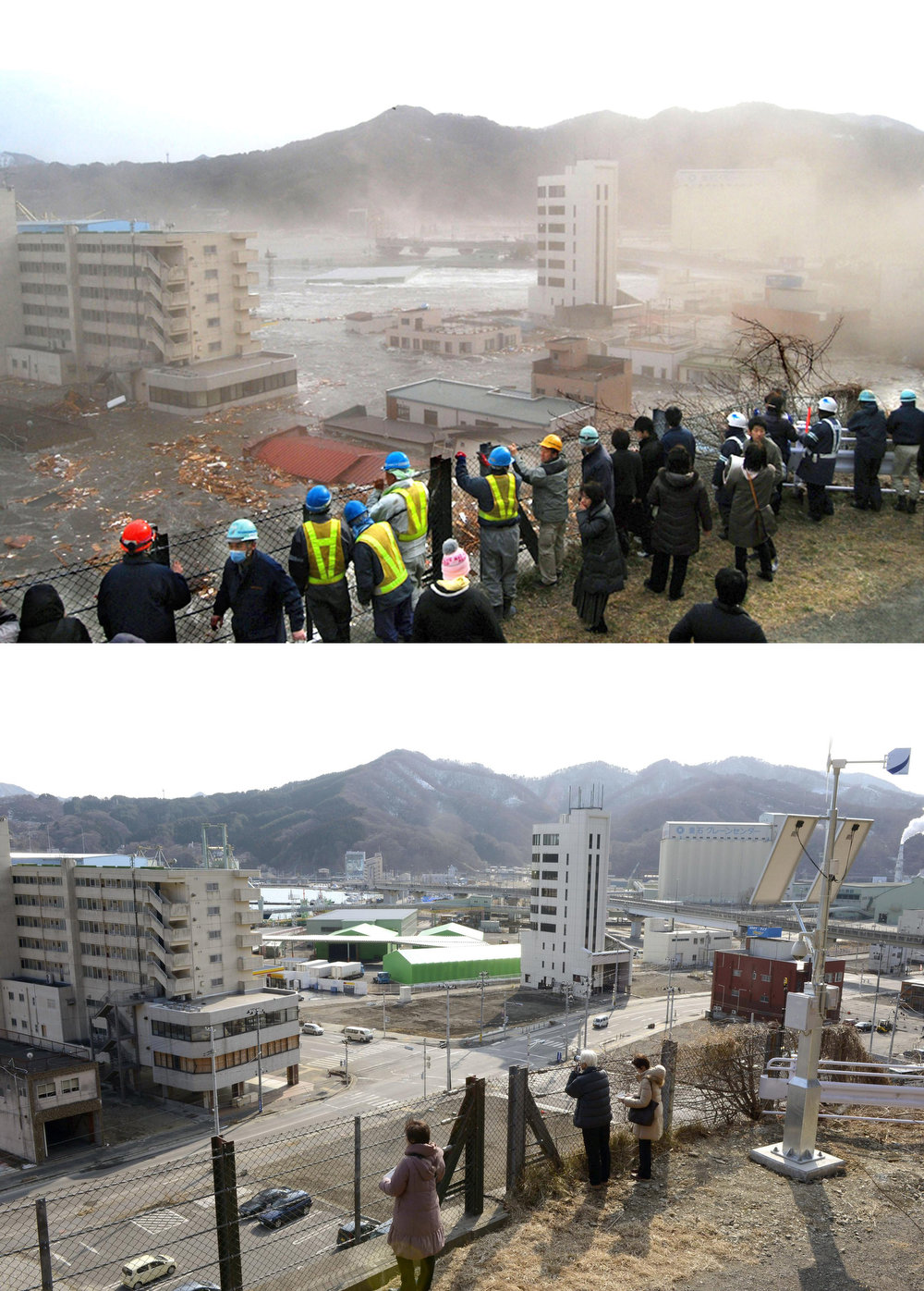 . This combination photo taken March 11, 2011, top, by Kamaishi City, and Wednesday, Feb. 27, 2013 by Kyodo News, shows a view of Kamaishi, Iwate prefecture. Monday, March 11, 2013 will mark the 2-year anniversary of the earthquake and tsunami which devastated the northeastern Pacific coast of Japan. Japan\'s progress in rebuilding from the mountain of water that thundered over coastal sea walls, sweeping entire communities away and killing nearly 19,000 people, is mainly measured in barren foundations and empty spaces. Clearing of forests on higher ground to make space for relocation of survivors has barely begun. (AP Photo/Kyodo News)