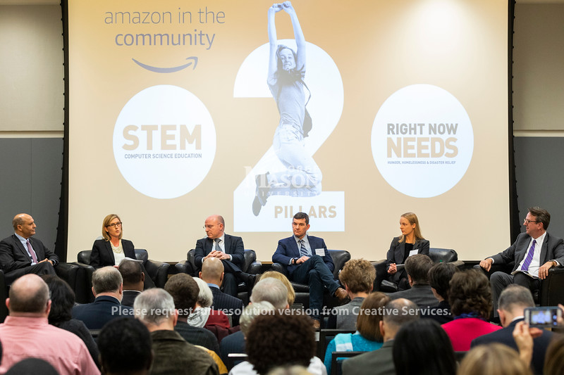 A panel discussion about Amazon's selection of Arlington for a second headquarters held by the Metropolitan Washington Council of Governments hosted by George Mason. Photo by Lathan Goumas/Strategic Communications