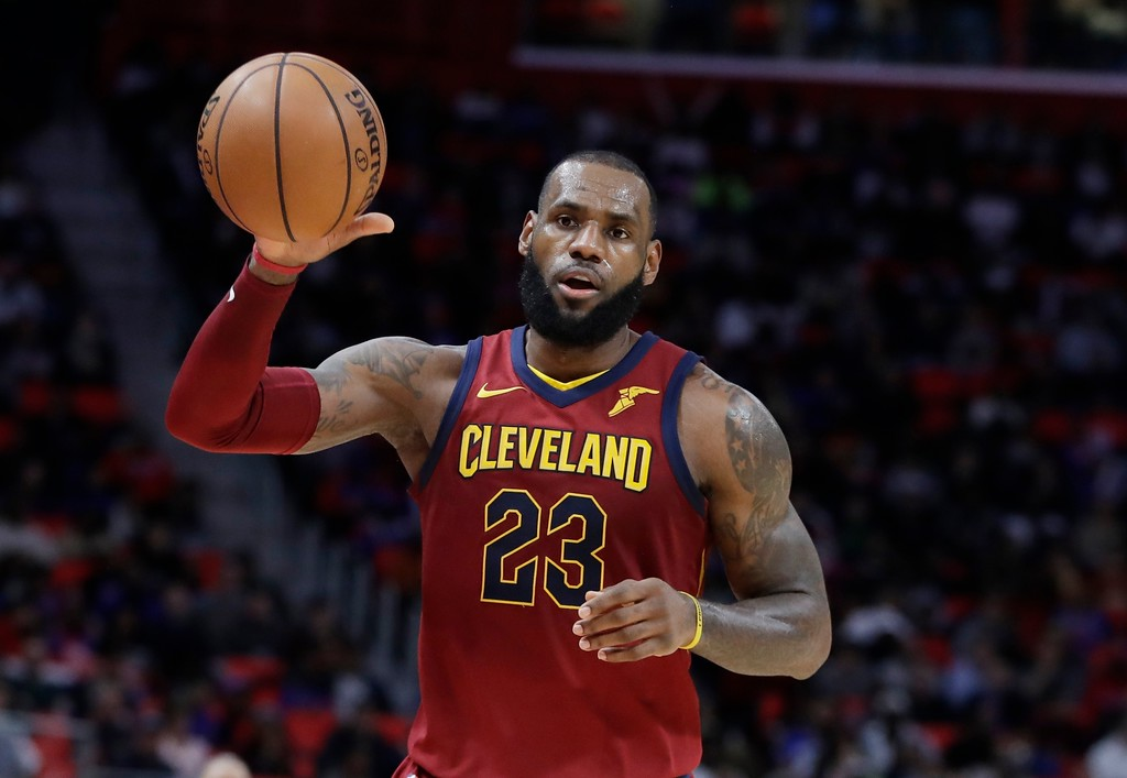 . Cleveland Cavaliers forward LeBron James takes an inbound pass during the second half of an NBA basketball game against the Detroit Pistons, Monday, Nov. 20, 2017, in Detroit. (AP Photo/Carlos Osorio)
