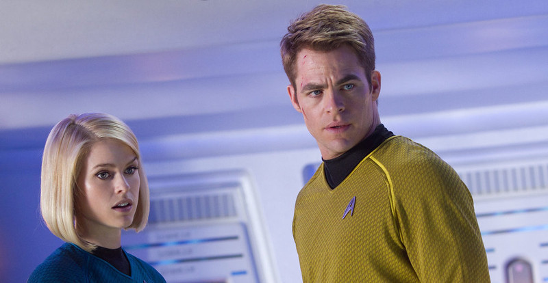 . (Left to right) Alice Eve is Carol and Chris Pine is Kirk in STAR TREK INTO DARKNESS, from Paramount Pictures and Skydance Productions.   (Photo by Zade Rosenthal)