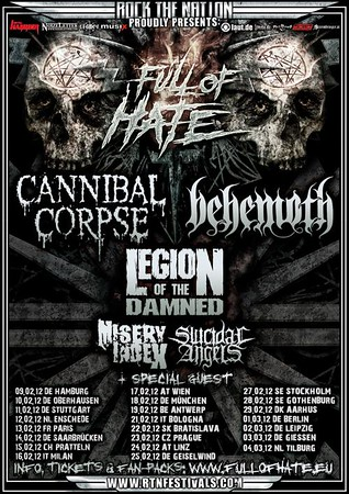 CANNIBAL CORPSE - Full Of Hate, Stockholm 27/2 2012