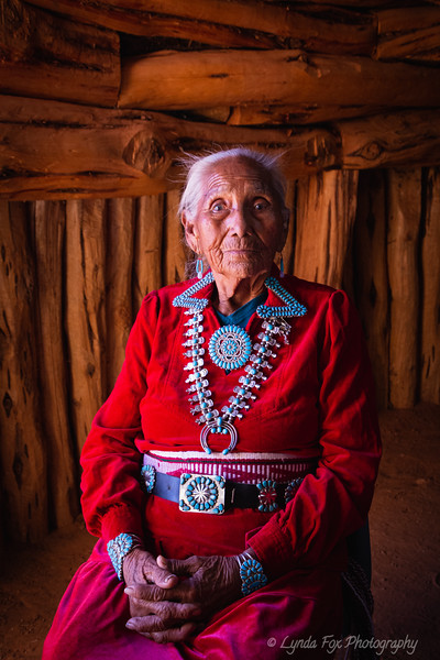 Navajo Elder in Red Dress