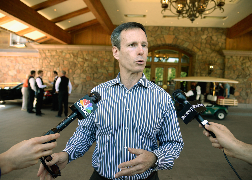 . Thomas Staggs, chairman of Walt Disney Parks and Resorts, arrives for the Allen & Co. annual conference at the Sun Valley Resort on July 9, 2013 in Sun Valley, Idaho. The resort will host corporate leaders for the 31st annual Allen & Co. media and technology conference where some of the wealthiest and most powerful executives in media, finance, politics and tech gather for weeklong meetings. Past attendees included Warren Buffett, Bill Gates and Mark Zuckerberg.  (Photo by Kevork Djansezian/Getty Images)