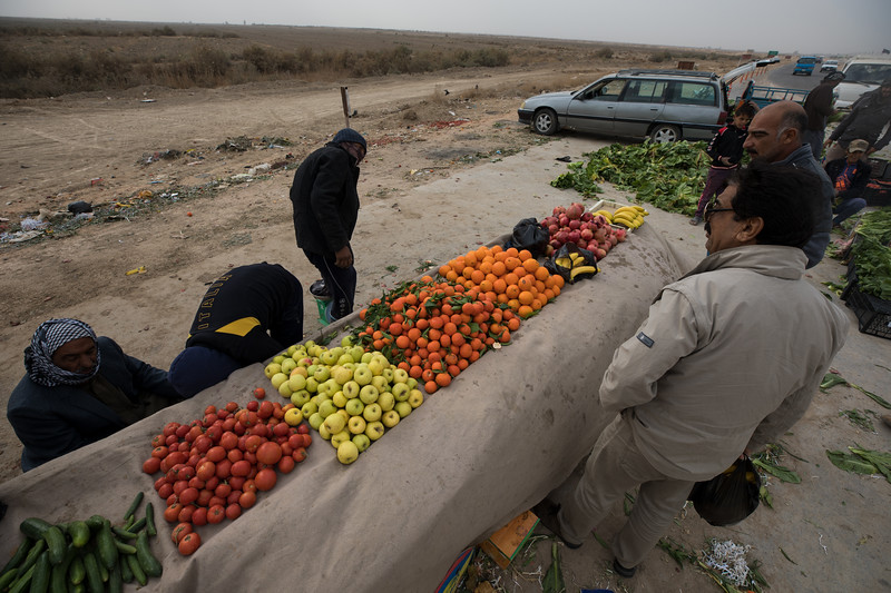 Fresh fruit and vegetables for sale on the highway between Najaf and Afak.