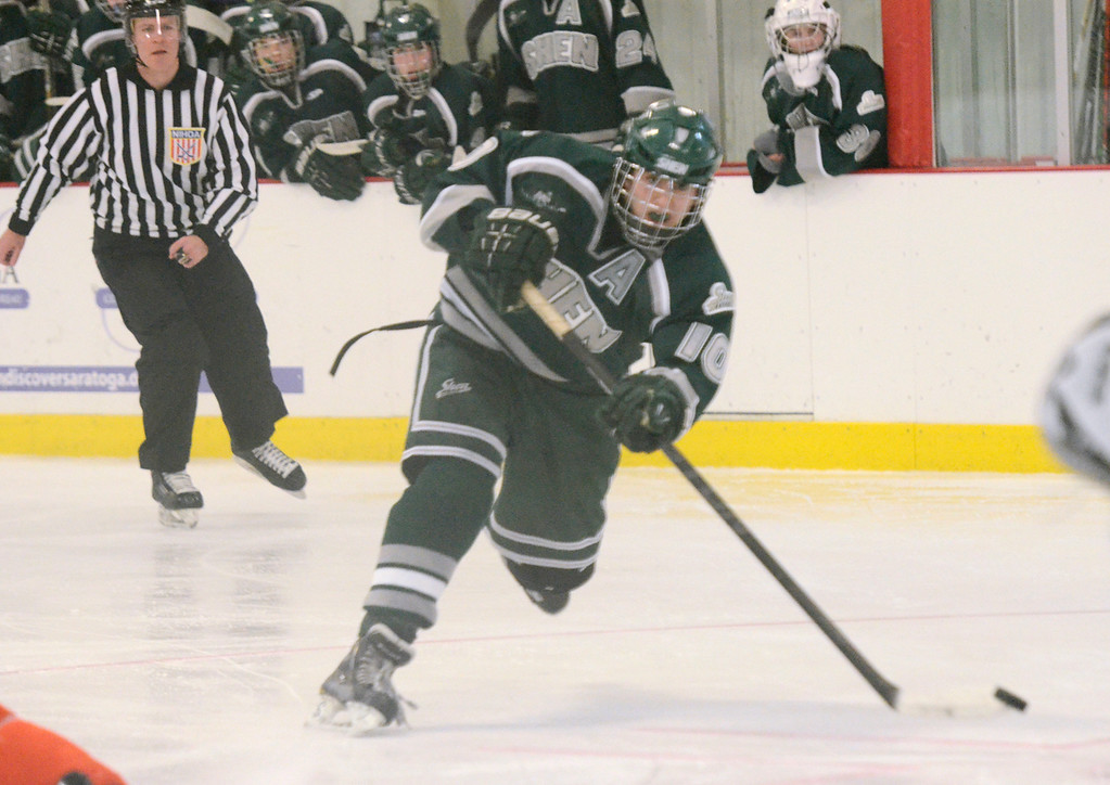 . Ed Burke - The Saratogian 12/07/13 Shen\'s Peter Sacks scores against Mamaroneck during Saturday\'s action in the Don Kauth Memorial Tournament at Saratoga Springs Ice Rink.