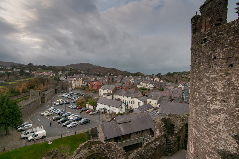 Overlooking view from Chepstow Castle towers in Wales, England