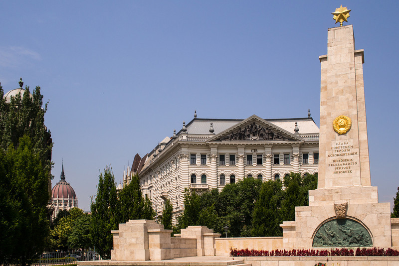 Liberty Square with a Communist time obelisk, Budapest, Hungary