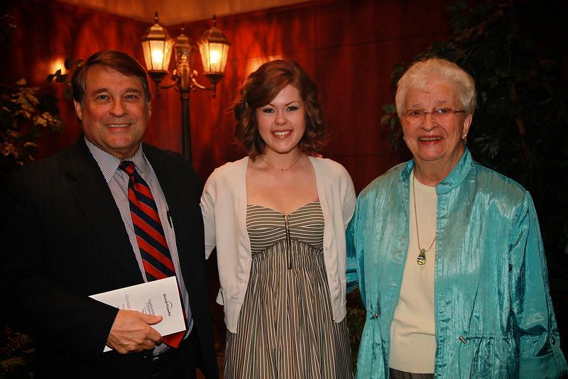 Scholarship Luncheon; Spring 2013. David and Polly Causby with Hannah Winn