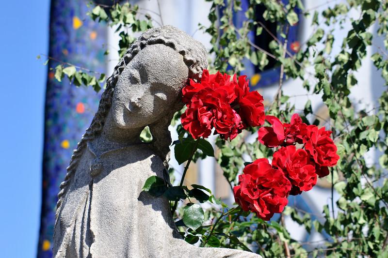 Statue at St. Barbara Church by Hundertwasser in Barnbach, Austr