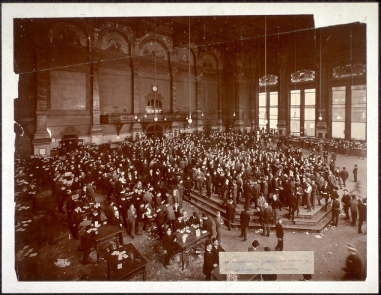 Title: An Instantaneous flash picture of the Chicago Board of Trade in session Lawrence, Geo. R. (George R.) , copyright claimant Lawrence, Geo. R. (George R.) , photographer Date Created/Published: c1900.    http://www.loc.gov/pictures/item/2007663560/