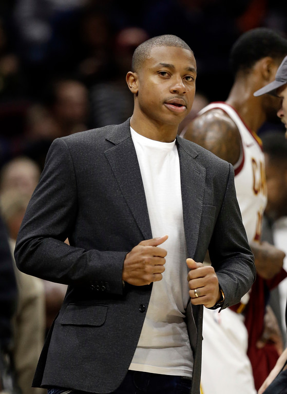 . Cleveland Cavaliers\' Isaiah Thomas is shown during a timeout in the first half of an NBA basketball game between the Los Angeles Clippers and the Cleveland Cavaliers, Friday, Nov. 17, 2017, in Cleveland. (AP Photo/Tony Dejak)