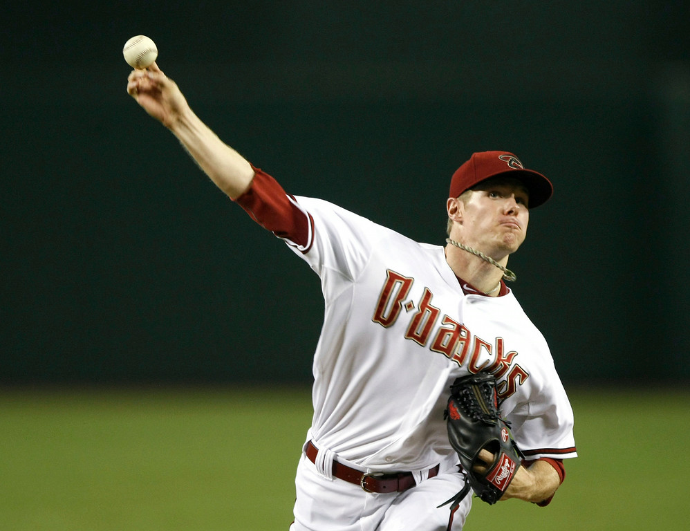 . Arizona Diamondbacks starting pitcher Chase Anderson throws in the first inning during a baseball game against the Colorado Rockies, Friday, Aug. 8, 2014, in Phoenix. (AP Photo/Rick Scuteri)