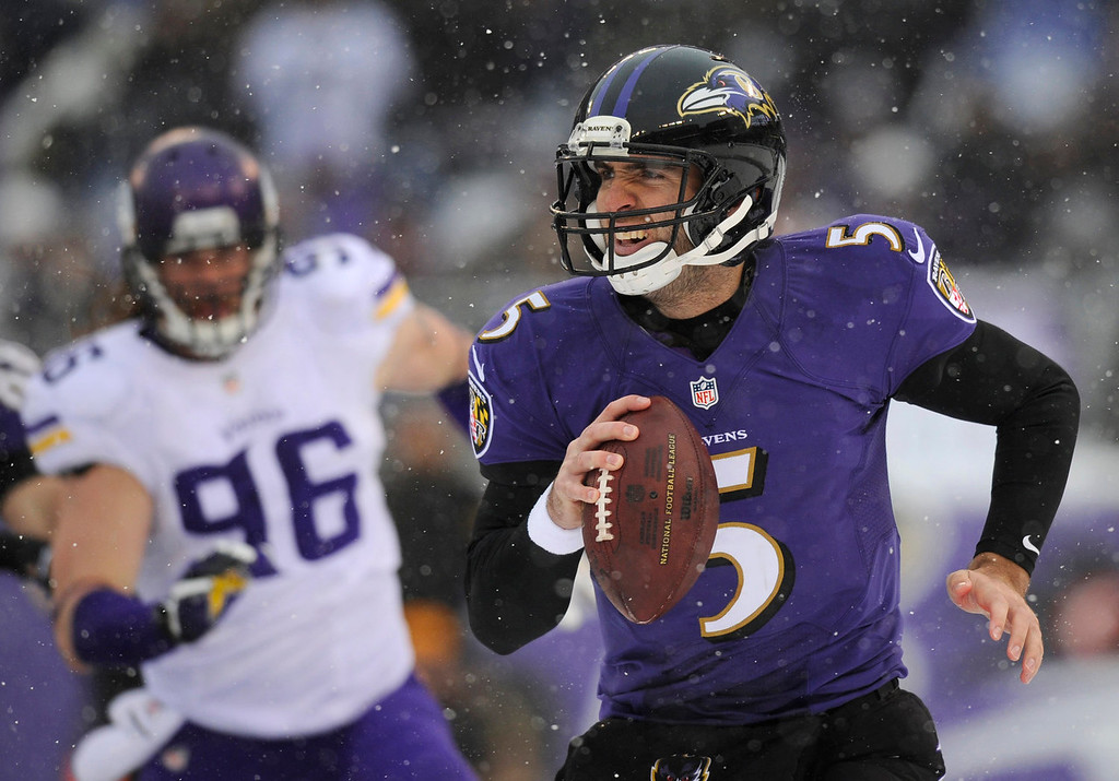 . Baltimore Ravens quarterback Joe Flacco, right, looks for a receiver as he is pressured by Minnesota Vikings defensive end Brian Robison in the first half of an NFL football game, Sunday, Dec. 8, 2013, in Baltimore. (AP Photo/Nick Wass)