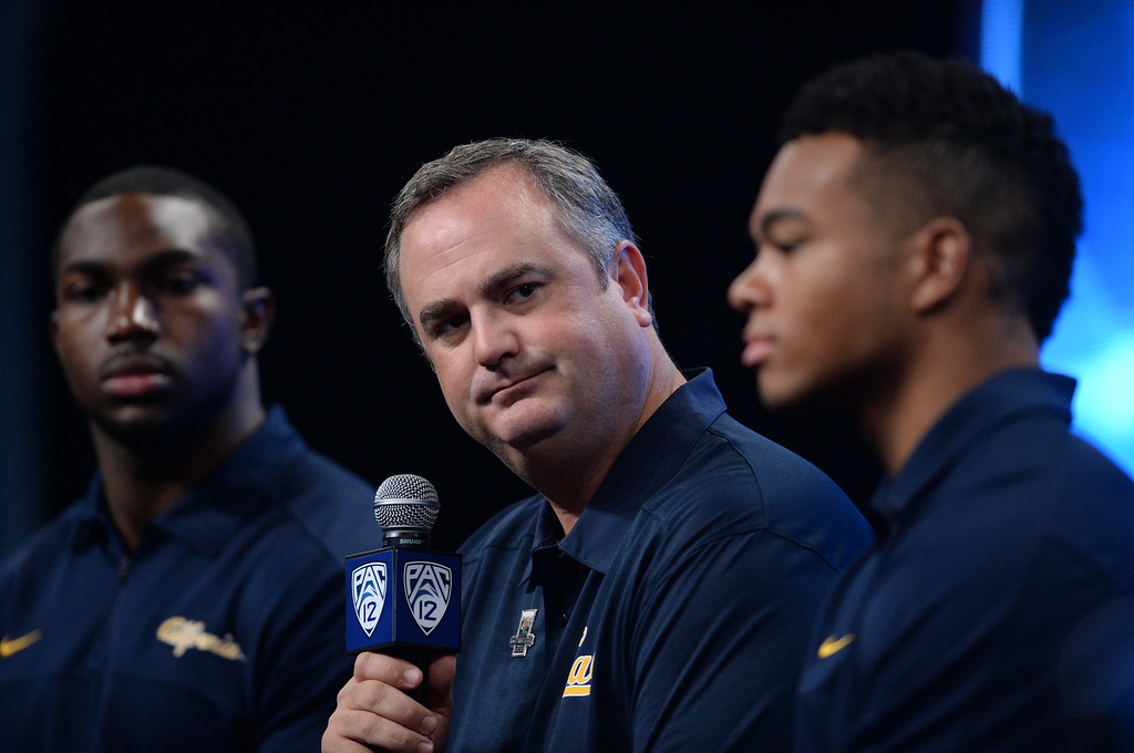 . Cal Coach Sonny Dykes. Pac12 media Day at Sony Studios.  Photo by Brad Graverson 7-26-13
