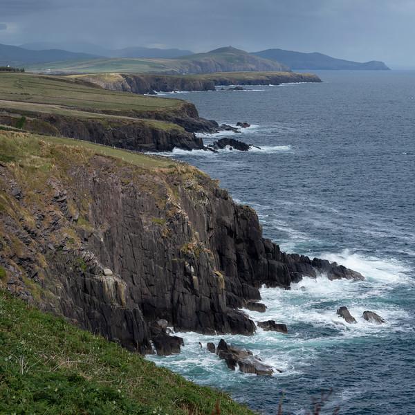Scenic view of coastline, Ballyferriter, County Kerry, Ireland