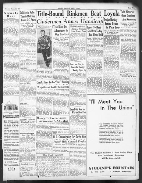 Daily Trojan, Vol. 24, No. 109, March 20, 1933