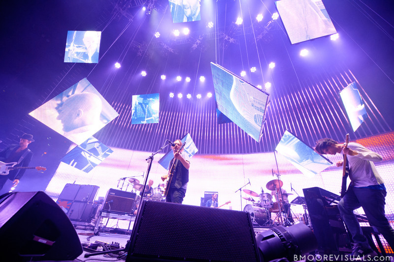 Ed O'Brien, Phil Selway, Thom Yorke, Colin Greenwood, and Jonny Greenwood of Radiohead perform on February 29, 2012 at Tampa Bay Times Forum in Tampa, Florida