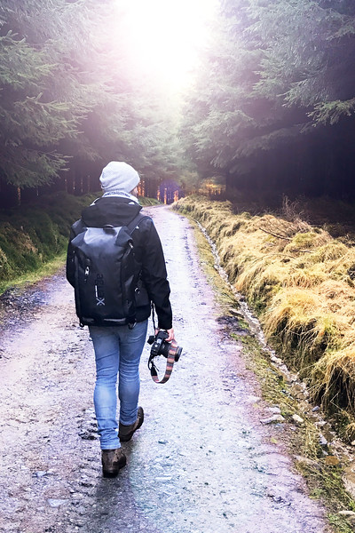 A Photographer Hiking Through the Forest in Scotland