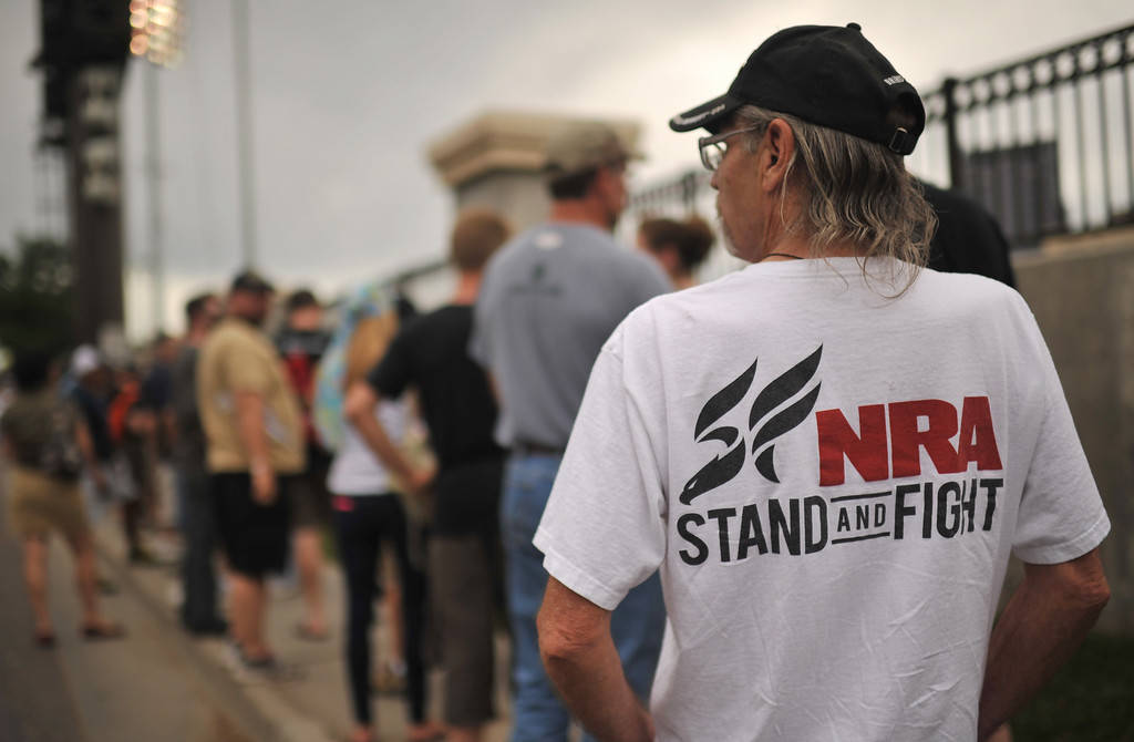 . GLENDALE, CO. - June 29: Les Anderson of Denver is in the line for a Farewell to arms freedom festival by Free Colorado at Infinity Park. Glendale, Colorado. June 29, 2013. Magpul Industries attended the party and handed out 1500 of their 30-round gun magazines for free. (Photo By Hyoung Chang/The Denver Post)
