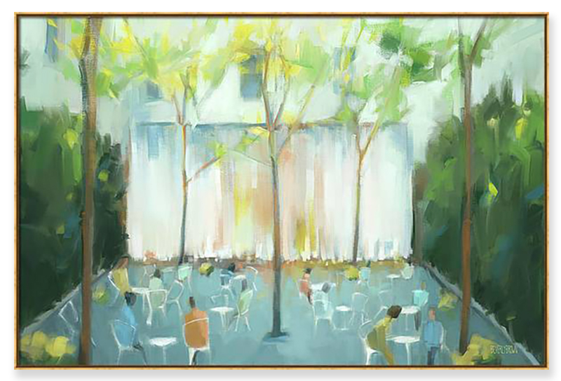 Burnett Fountain Conservatory Garden Central Park NYC Painting Framed Canvas Wall Art
