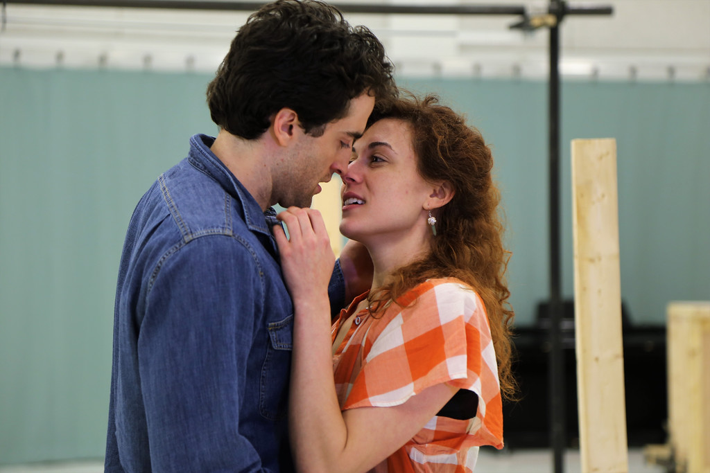 . Marina Shay, who portrays Viola de Lesseps, and Charlie Thurston, as Will Shakespeare, rehearse a scene for the Cleveland Play House production of �Shakespeare in Love.� The show runs Sept. 9 through Oct. 1 at Playhouse Square�s Allen Theatre. For more information, visit clevelandplayhouse.com. (Courtesy of Cleveland Play House)