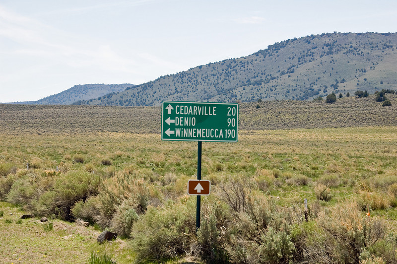 I'll be going left.  Winnemucca is not spelled correctly on the sign.