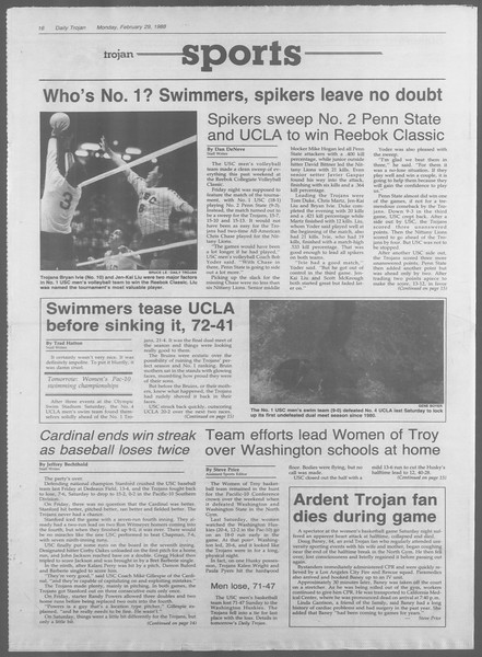 Daily Trojan, Vol. 106, No. 33, February 29, 1988