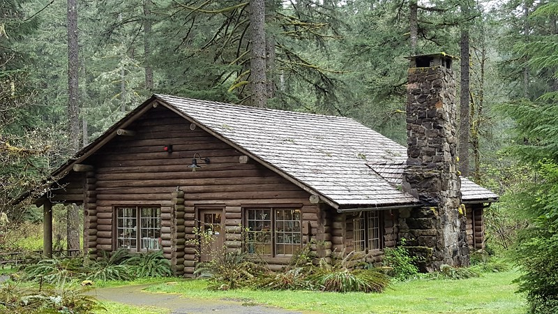 Log cabin in the forest.