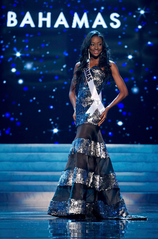 . Miss Bahamas 2012 Celeste Marshall competes in an evening gown of her choice during the Evening Gown Competition of the 2012 Miss Universe Presentation Show in Las Vegas, Nevada, December 13, 2012. The Miss Universe 2012 pageant will be held on December 19 at the Planet Hollywood Resort and Casino in Las Vegas. REUTERS/Darren Decker/Miss Universe Organization L.P/Handout