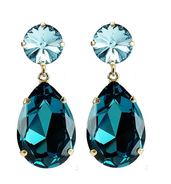 Perfect Drop Earrings / Aquamarine + Indigo