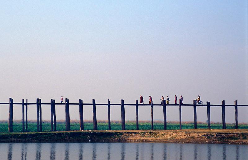 People On U Bein's Foot-bridge near Amarapura, Burma