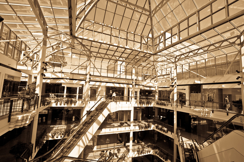 Beautiful lighting & artistic composition in the upscale shopping mall at Pioneer Place.