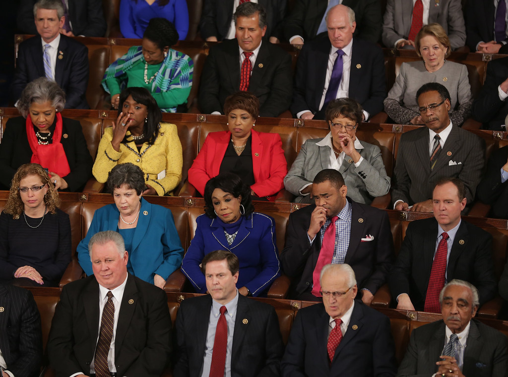 . House Democrats listen to Israeli Prime Minister Benjamin Netanyahu speak about Iran during a joint meeting of the United States Congress in the House chamber at the U.S. Capitol March 3, 2015 in Washington, DC. At the risk of further straining the relationship between Israel and the Obama Administration, Netanyahu warned members of Congress against what he considers an ill-advised nuclear deal with Iran.  (Photo by Chip Somodevilla/Getty Images)