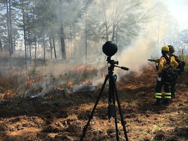 The team captured footage from a controlled burn.