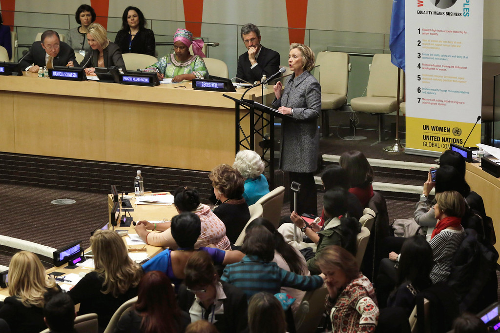 . Hillary Rodham Clinton delivers her remarks in the ECOSOC chamber of the United Nations, during the annual Women�s Empowerment Principles event, Tuesday, March 10, 2015. (AP Photo/Richard Drew)